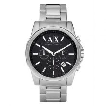 Armani Exchange Men's Black Dial Stainless Steel Band Chronograph Watch - AX2084