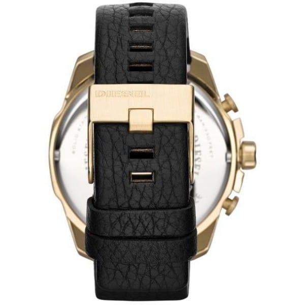 Diesel Mega Chief Men's Black Dial Leather Band Watch - DZ4344