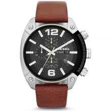 Diesel Overflow Men's Black Dial Leather Band Chronograph Watch - DZ4296