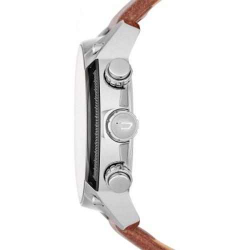 Diesel Overflow Men's Black Dial Leather Band Chronograph Watch - DZ4296