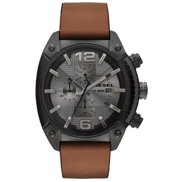 Diesel Overflow Men's Chronograph Gray Dial Leather Band Watch - DZ4317