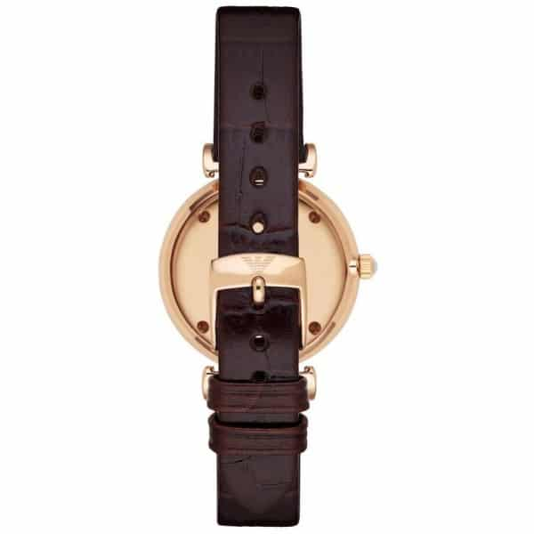 Emporio Armani Classic Women's Pink Dial Leather Band Watch - AR1911