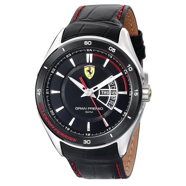 Ferrari 0830182 Leather Strap Analog Watch - Black