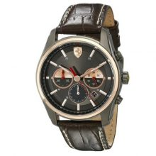 Ferrari 0830198 Leather Strap Chronograph Watch - Brown
