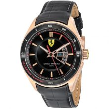 Ferrari Scuderia Gran Premio Men's Black Dial Leather Band Watch - 830185