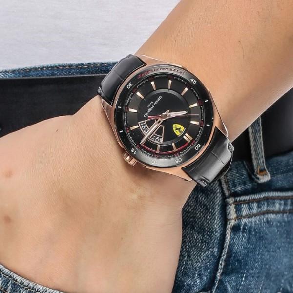 Ferrari Scuderia Gran Premio Men's Black Dial Leather Band Watch - 830185