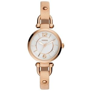 Fossil Georgia Women's Whiten Dial Leather Band Watch - ES3745