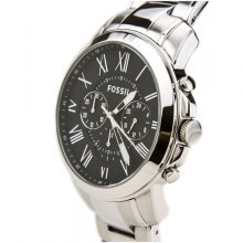 Fossil Grant Men's Black Dial Stainless Steel Band Watch - FS4736