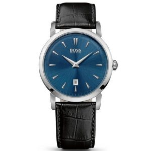 Hugo Boss Leather Strap 2-Hand Quartz Slim Ultra Round Watch 1513079