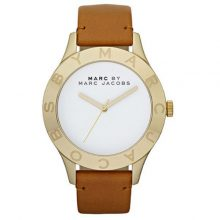 MARC JACOBS Women Round Leather, Stainless Steel Analog Quartz Watch-MBM1218