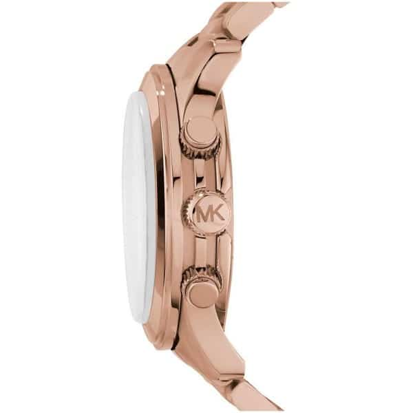 Michael Kors Runway Oversized Women's Rose Gold Dial Stainless Steel Band Chronograph Watch - MK8096
