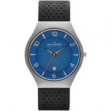 Grenen Blue Dial Perforated Back Leather Men's Watch G2-SKW6148