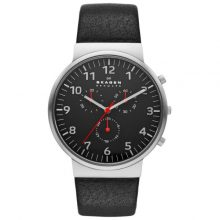 Skagen Ancher Men's Black Dial Leather Band Chronograph Watch - SKW6100