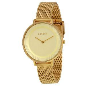 Skagen Ditte Women's Gold Dial Stainless Steel Mesh Bracelet Band Watch - SKW2333