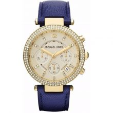 Michael Kors Parker Women's Champagne Dial Leather Band Chronograph Watch - MK2280n