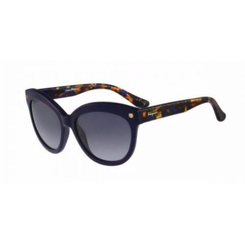 Ferragamo Cat Eye Full Rim Sunglasses for Women - 675S 424 Blue Gradient Lenses