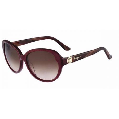 Ferragamo Cat Eye Full Rim Sunglasses for Women - 708S 605 Brown Gradient Lenses
