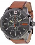 Mega Chief Black Dial Brown Leather Men's Quartz Watch - DZ4343
